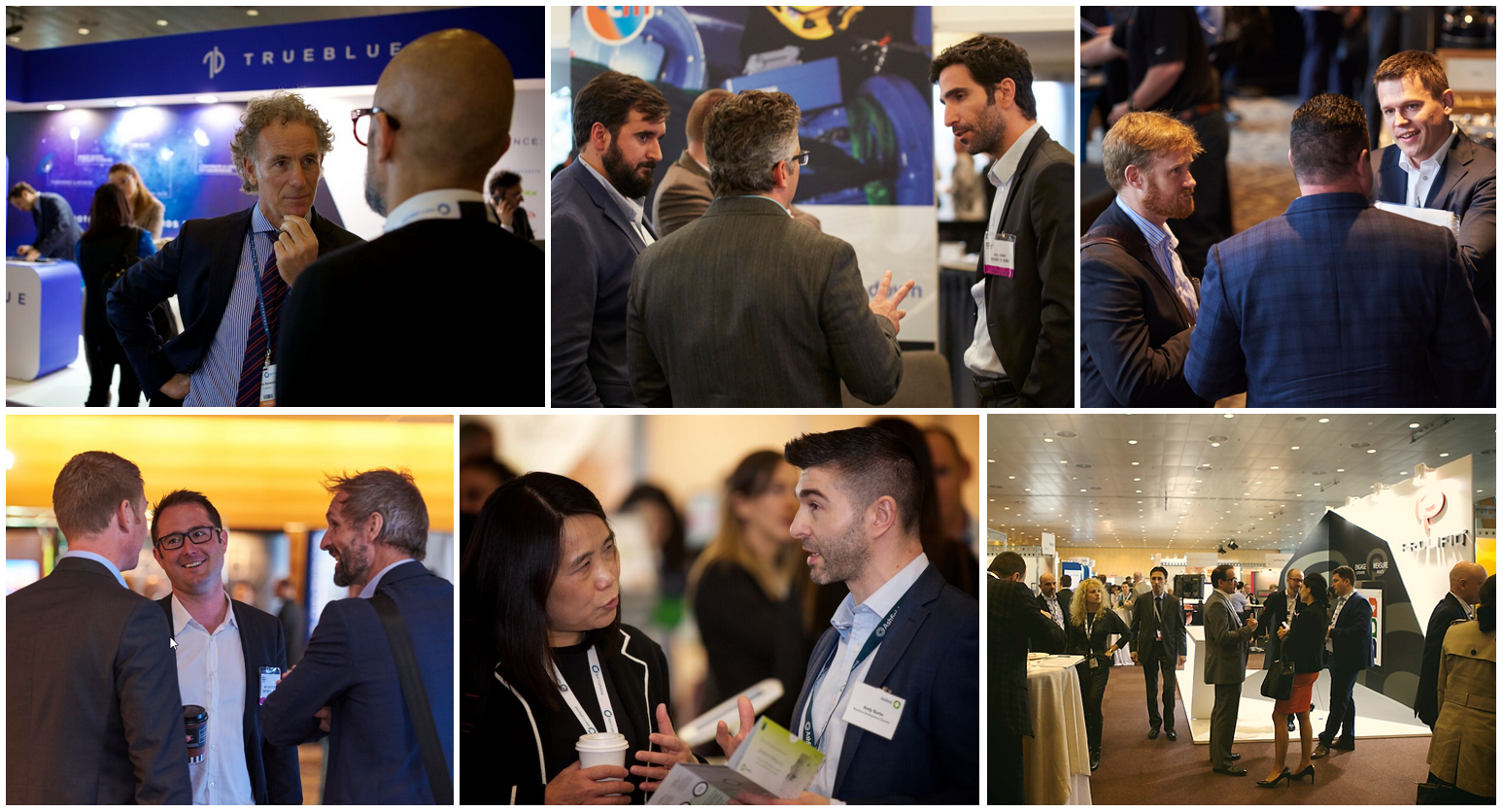 A collage of pictures of attendees at our events networking