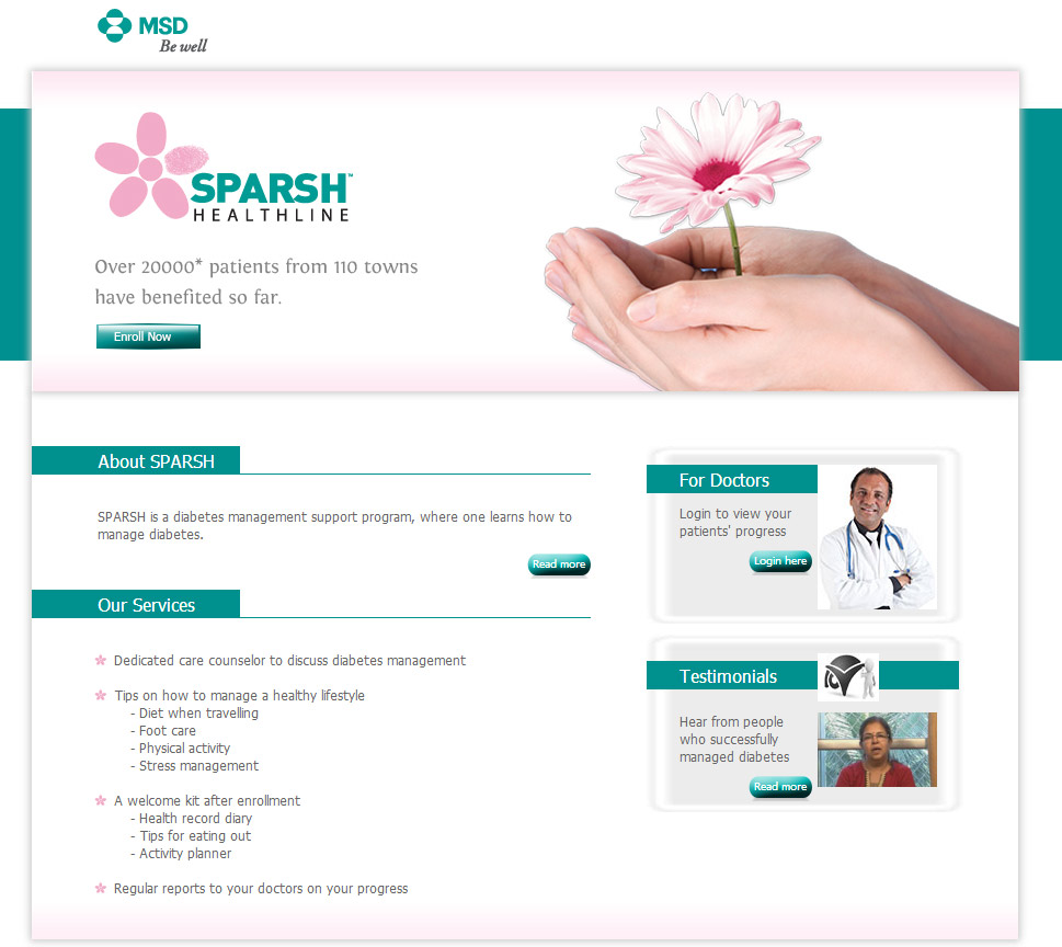 Sparsh Healthline website